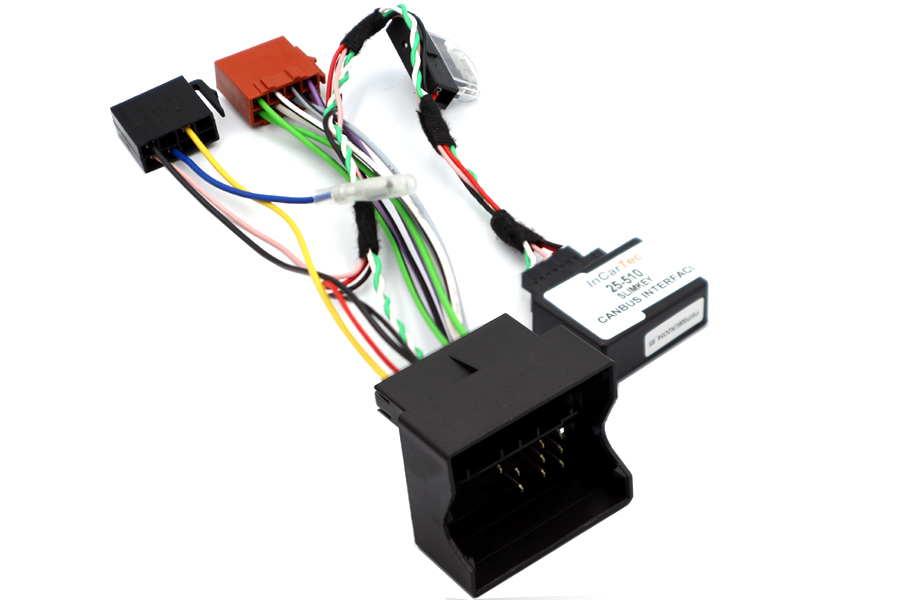 VW group quadlock to ISO radio adapter harness, with CANbus ignition