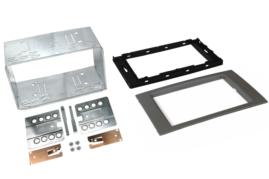 Ford 6000CD square Double Din Cage kit SILVER