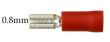 Red Spade push-on 2.8mm for 0.8mm tab width