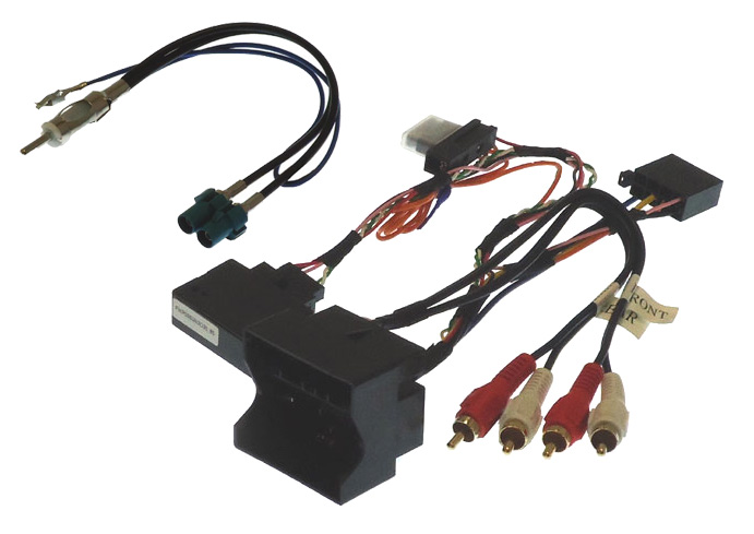 Audi Quadlock to ISO and PHONO harness adapter with antenna and CAN ignition