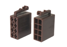 Brown 8 way male speaker iso connectors (10pcs)