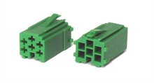 6 way Green male  mini-iso connectors (10pcs)