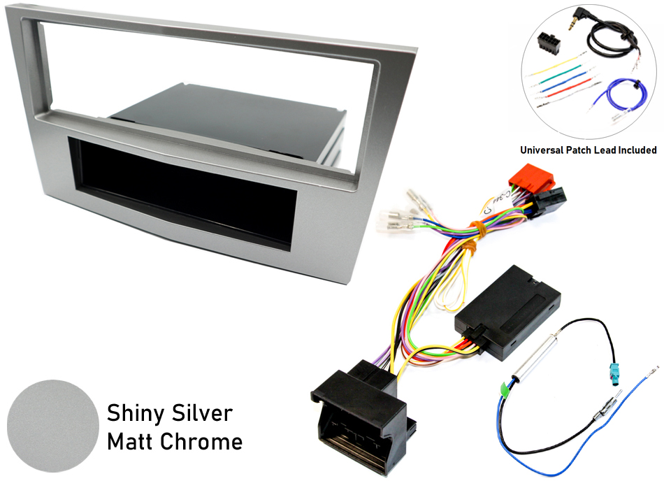 Vauxhall Corsa D single din SWC silver fitting kit