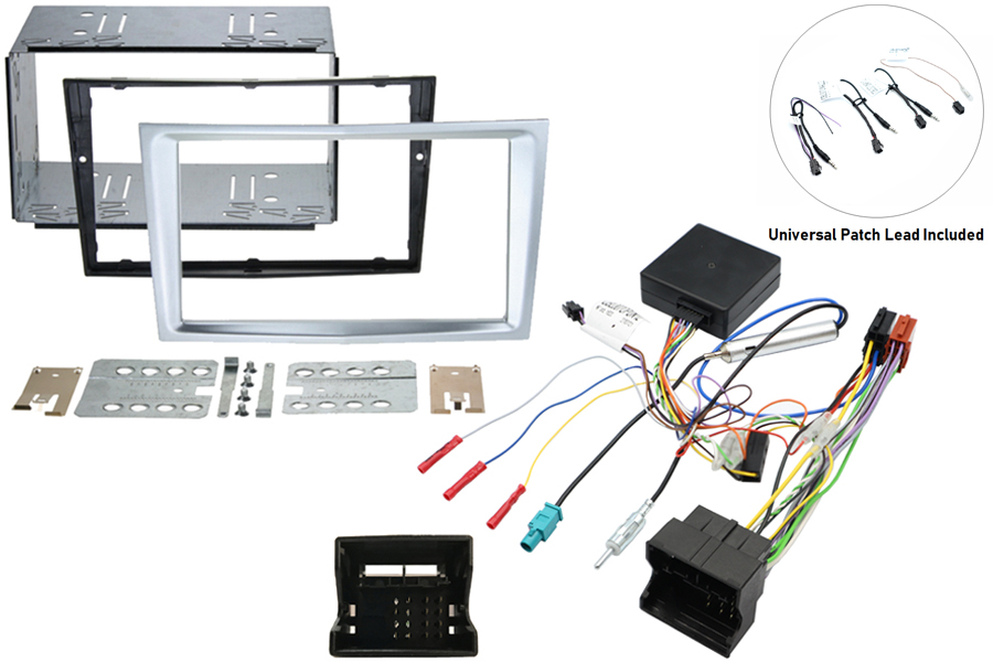 Vauxhall double din fitting kit with SWC - Silver