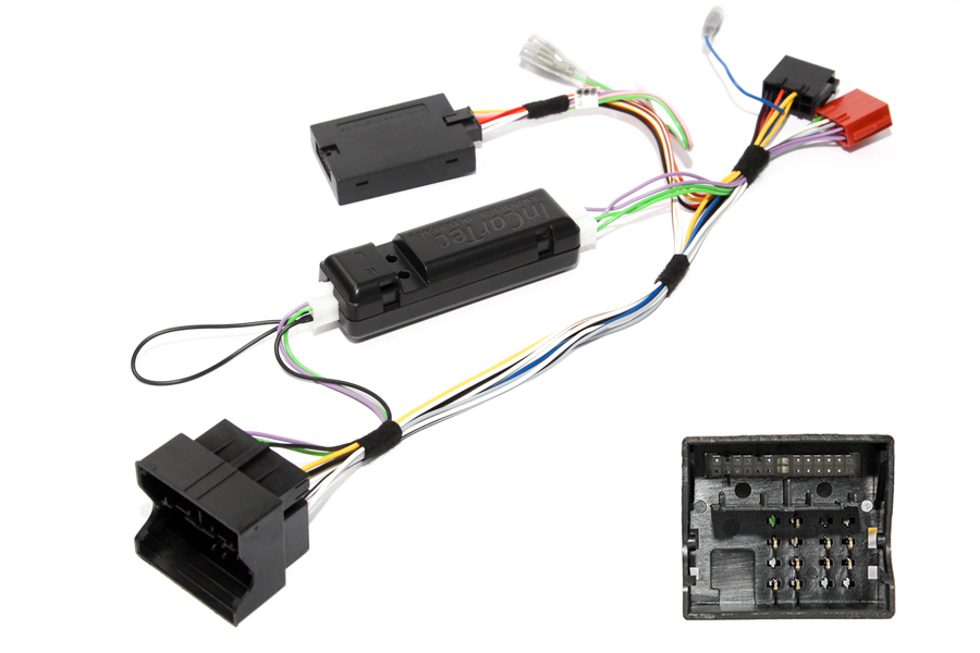 Audi Quadlock steering wheel control interface and radio adapter cable