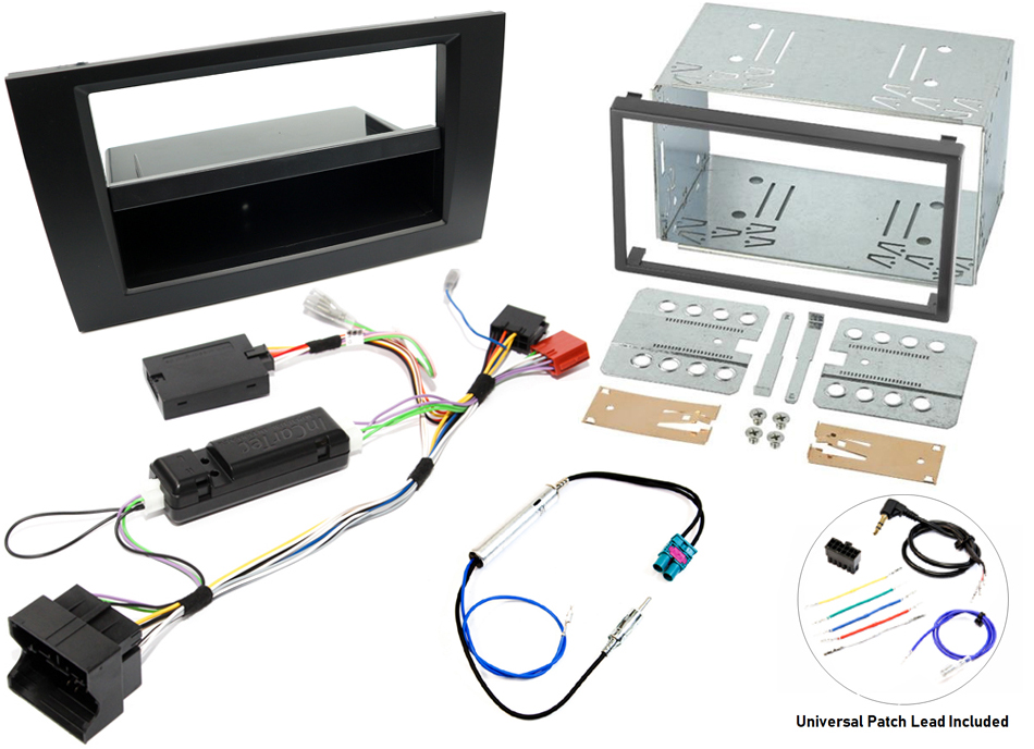 Audi A4 B7 head unit fitting kit with steering wheel control interface