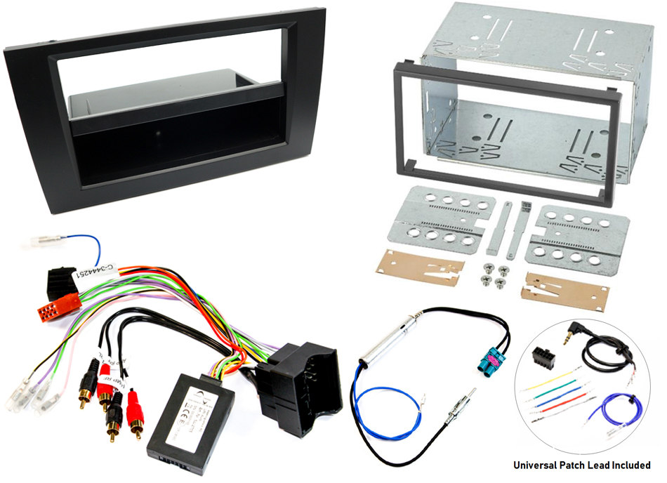 Audi A4 B7 single/double DIN fitting kit WITH STEERING WHEEL CONTROLS (FULLY AMPLIFIED)