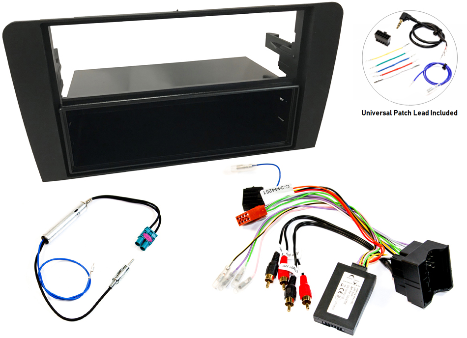 Audi A3 8P head unit fitting kit with steering wheel interface, for fully amped cars