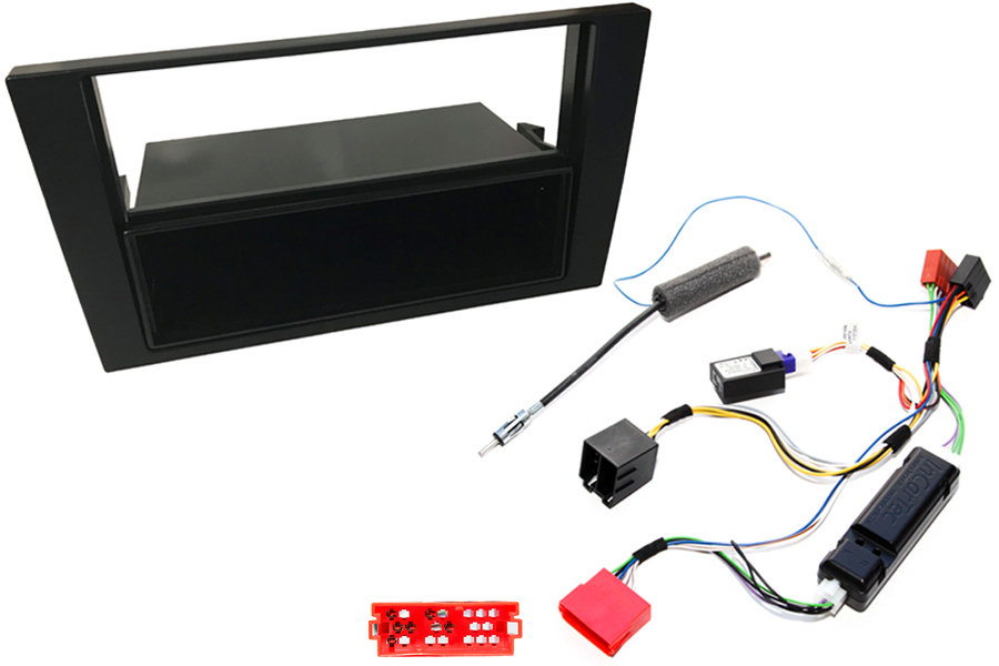 Audi A4 B6 single and double din stereo fitting kit with CANbus ignition interface
