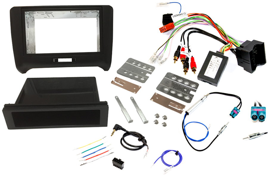 Audi TT 8J single and double din stereo fitting kit with CANbus ignition steering control interface