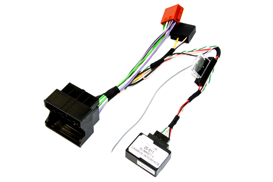 VW group quadlock to ISO radio adapter harness, with CANbus ignition and speed pulse