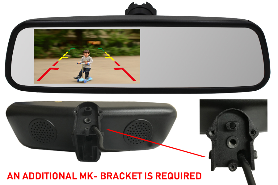 4.5 inch Rear view mirror monitor (Extra Bracket required)