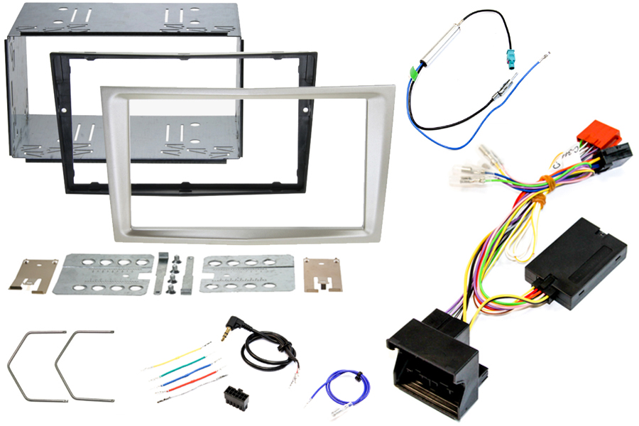 Vauxhall Corsa D beige double din stereo fitting kit with CANbus steering wheel control interface