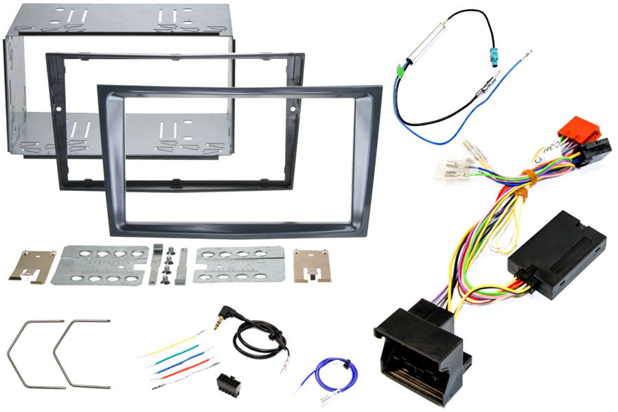 Vauxhall Corsa D stealth black double din stereo fitting kit CANbus steering wheel control interface