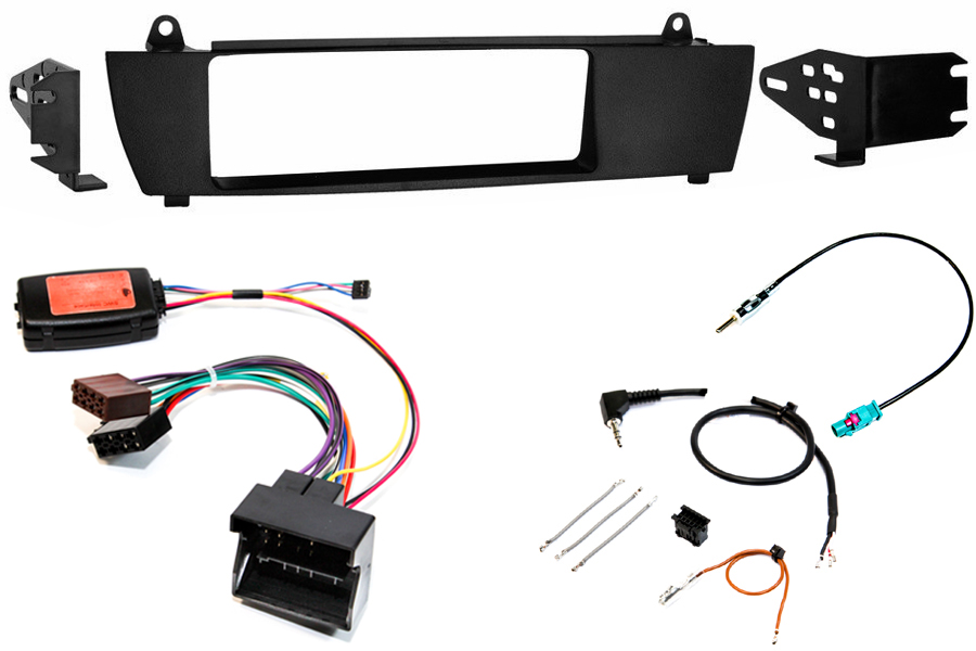 BMW X3 single din fitting kit with SWC