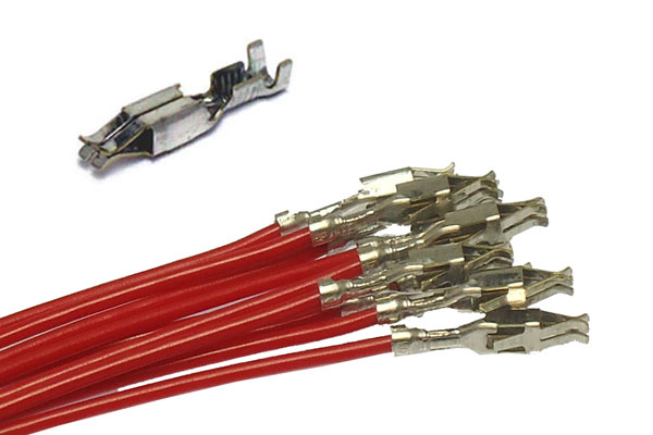 Junior timer rec crimped wires, red, pack of 10