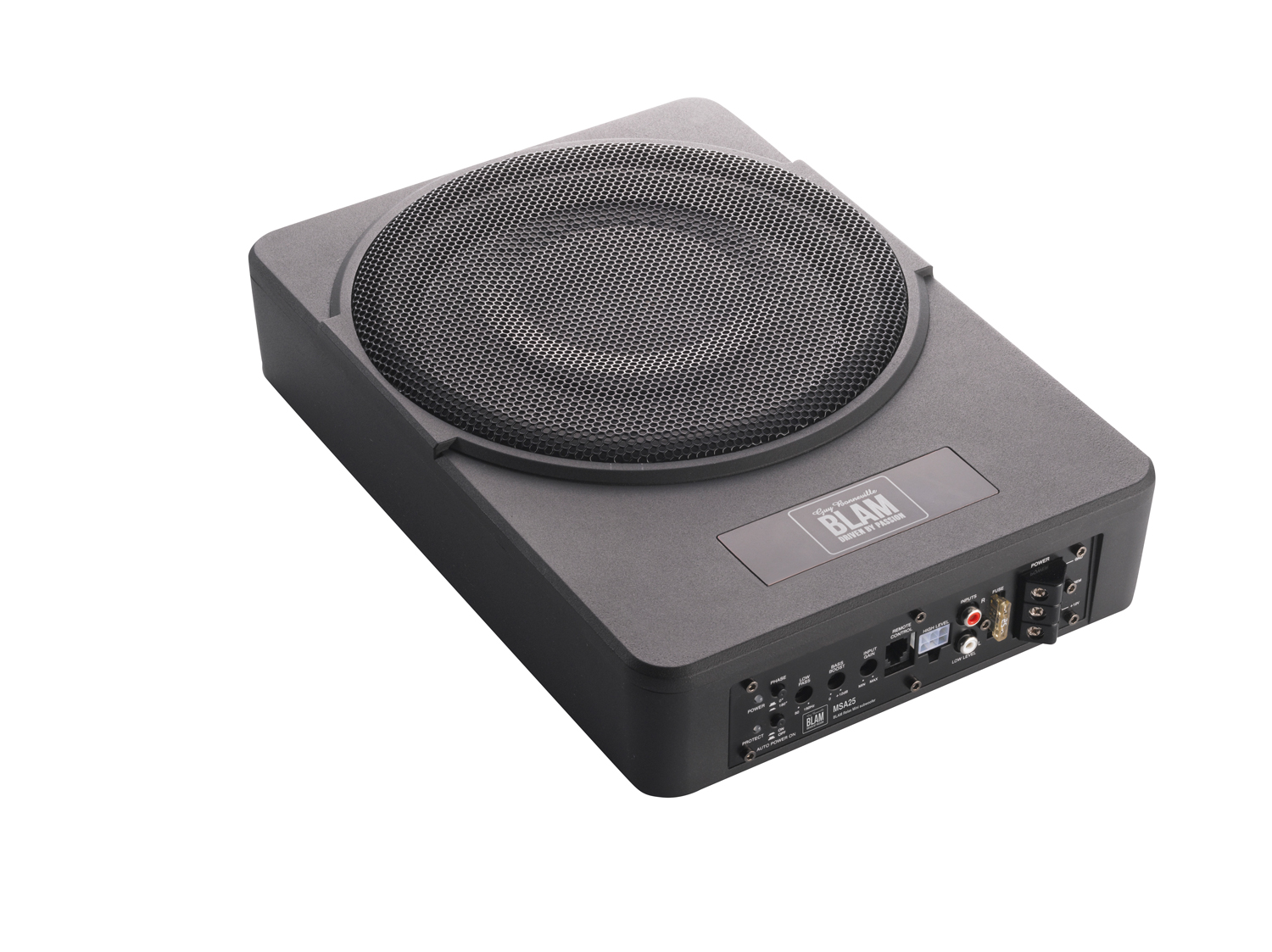 Blam 25cm (10 inch) underseat subwoofer with built-in 250w amplifier