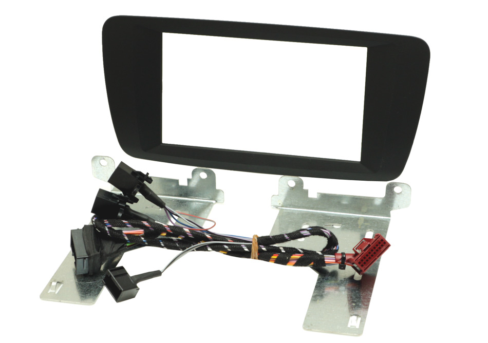 Seat Ibiza 2014 onward double din fascia soft touch black with button relocation harness