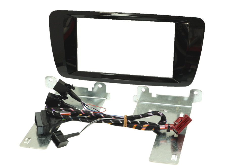Seat Ibiza 2014 onward double din fascia gloss black with button relocation harness