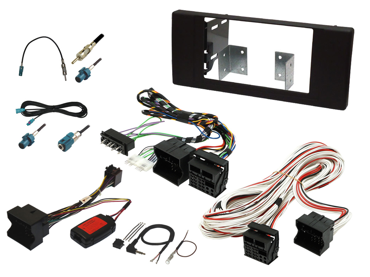 BMW X5 E53 double din stereo upgrade fitting kit with steering controls and DSP bypass
