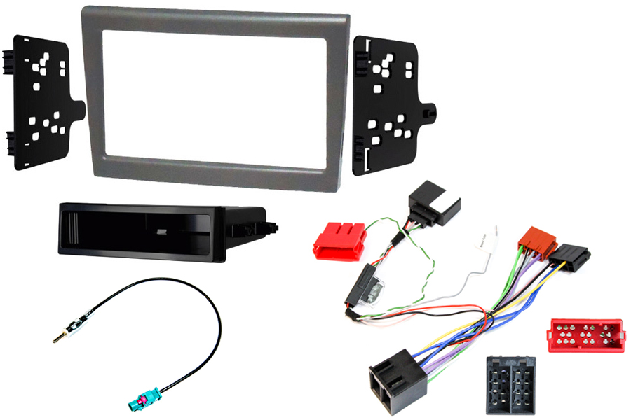 Porsche 987 and 997 single and double din stereo fitting kit with CANbus ignition, silver