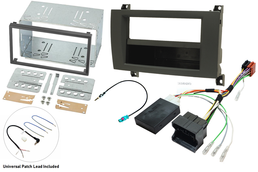Mercedes SLK R171 04-08 single and double DIN stereo fitting kit with steering control interface