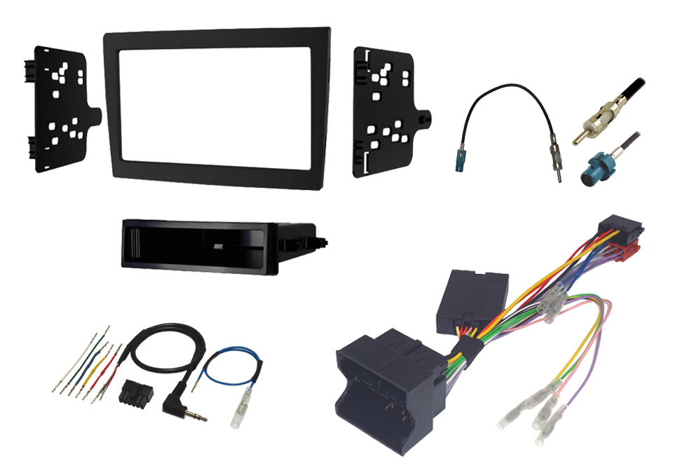 Porsche 987 and 997 single and double din stereo fitting kit with steering control interface