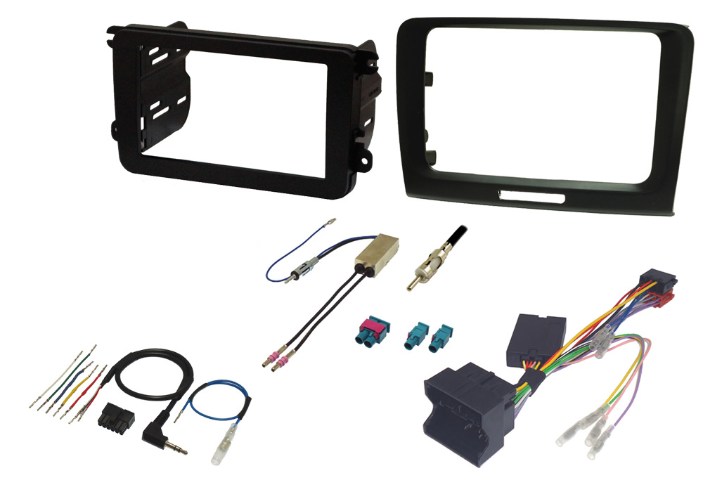 Skoda Superb 08-15 single and double din fitting kit, with steering controls