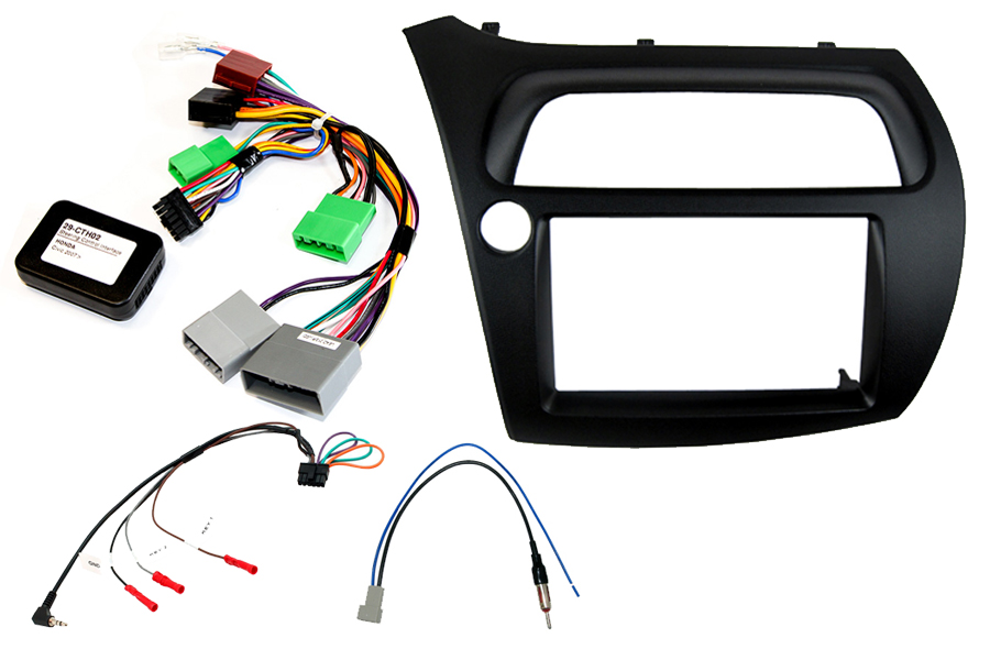 Honda Civic 2006> double DIN car stereo upgrade fitting kit (Left Hand Drive)