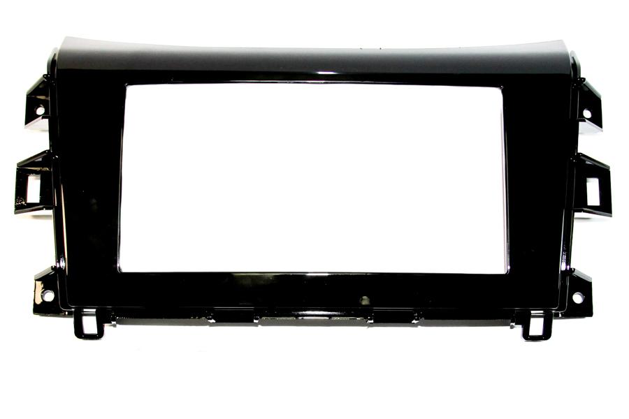 Nissan Navara 2015> double din radio fascia adapter panel (Gloss Black)