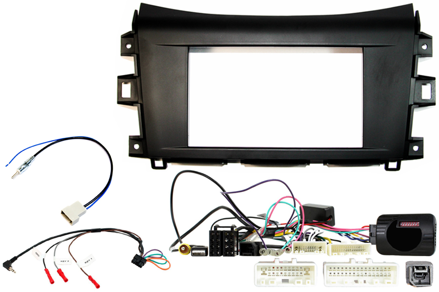 Nissan Navara 2015> double DIN complete stereo upgrade fitting kit with steering control interface