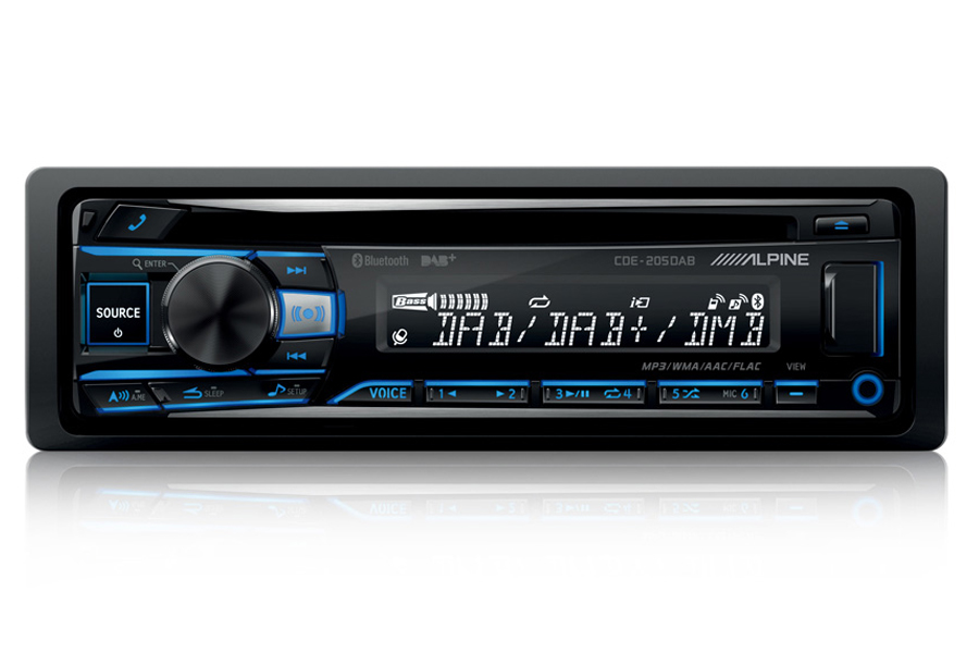 Alpine CDE205 single DIN car stereo head unit with DAB/CD/USB and Bluetooth