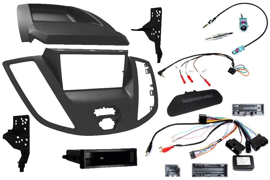 Ford Transit Euro 6 2017> double din stereo fitting kit (With OEM passenger airbag light)