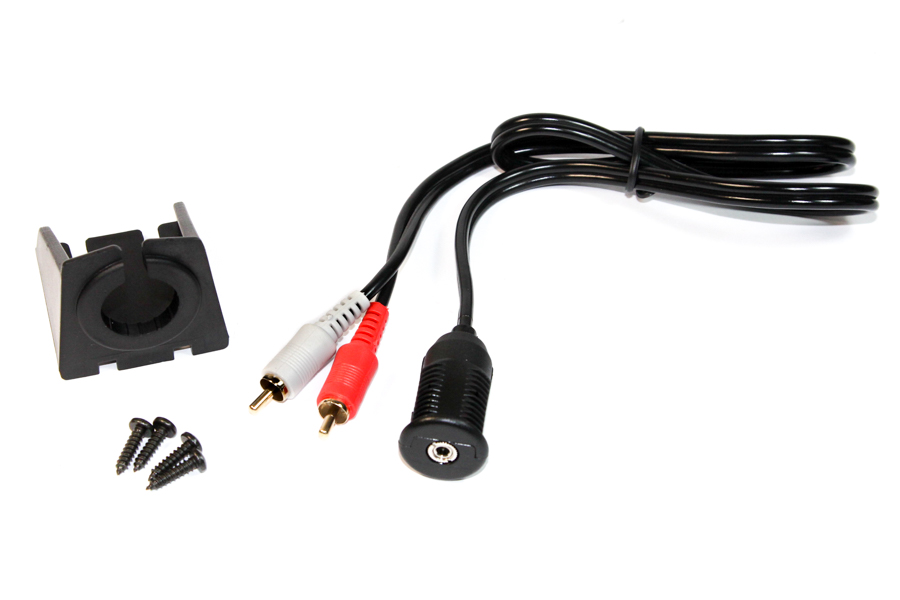 Push fit 3.5mm stereo dash board socket with male phono plugs