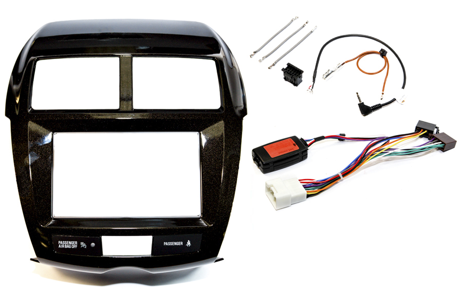 Mitsubishi ASX 2014 onwards double DIN Fitting Kit Black (Silver Trim WITH HAZARD SWITCH)