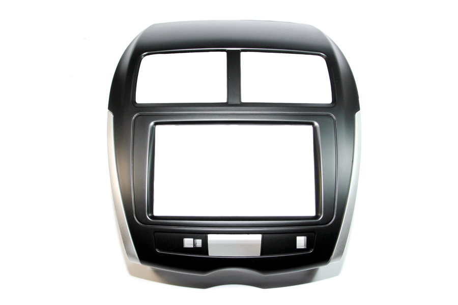 Mitsubishi ASX 2014 onwards double DIN car radio fascia Black (With Silver Trim and no buttons)