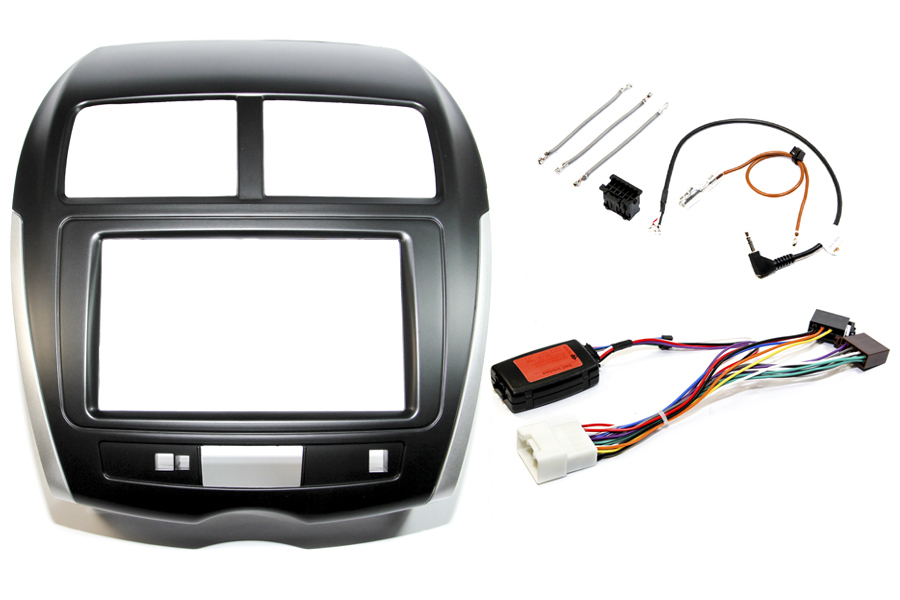 Mitsubishi ASX 2014 > double DIN Fitting Kit Black (Silver Trim WITHOUT HAZARD SWITCH)