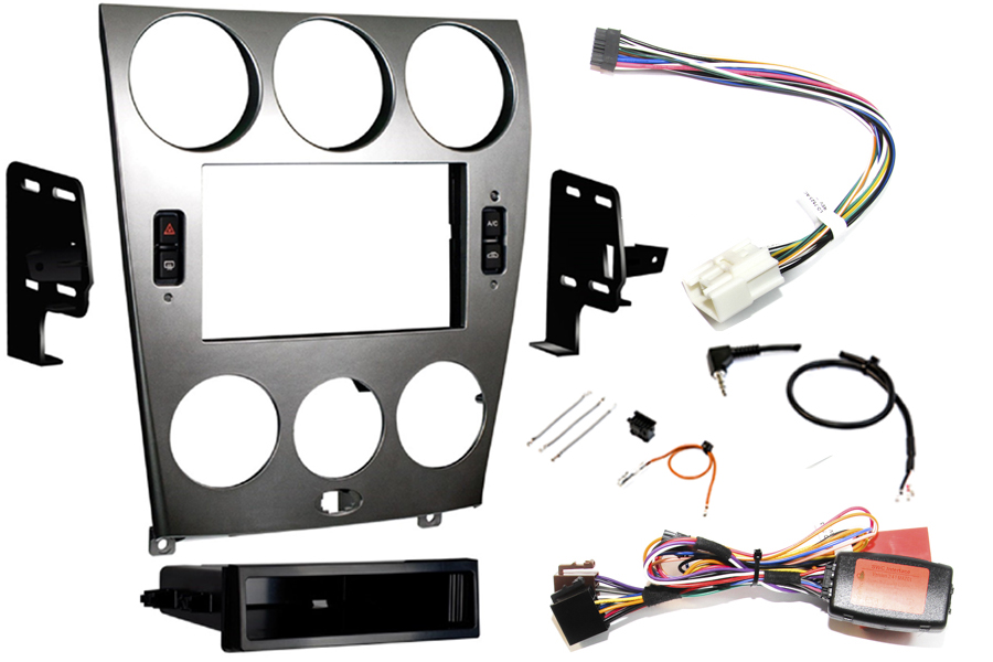 Mazda 6 2003-2005 Single Double DIN Fitting Kit Silver (incl. climate control retention)