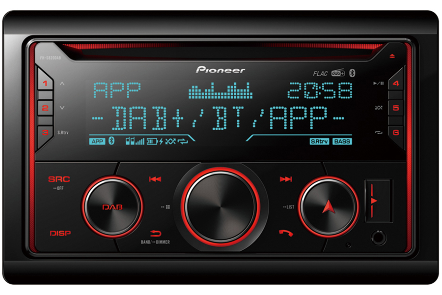 Pioneer FH-S820DAB double DIN car stereo head unit with Bluetooth and DAB