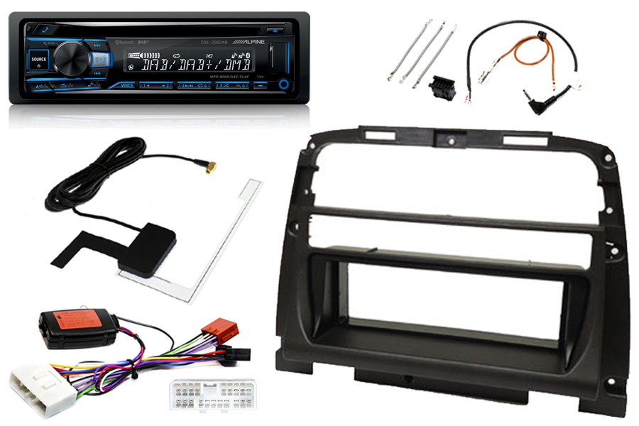 Jaguar XK8 96-99 standard audio single DIN fitting kit with Alpine CDE205