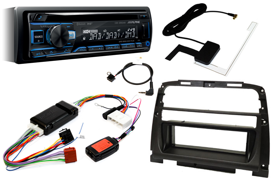 Jaguar XK8 96-99 premium audio Single DIN fitting kit with Alpine CDE205