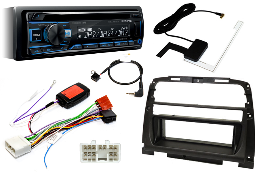 Jaguar XK8 00-05 standard audio single DIN fitting kit with Alpine CDE205