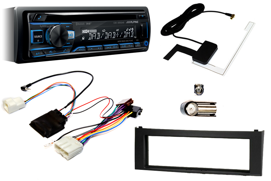 Mitsubishi Colt (05-08) Single DIN kit with Alpine CDE205 (TRIP COMPUTER RETENTION))