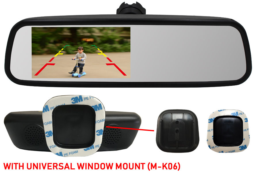 4.5 inch Rear view mirror monitor (Universal Window Mount)