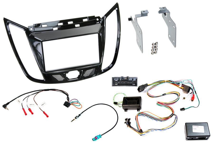 Ford C-Max (10>) Kuga (12>) Complete Double DIN fitting kit (WITH PARKING SENSOR RETENTION)