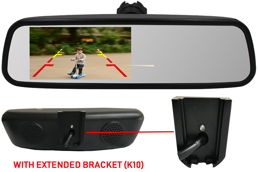 4.5 inch Rear view mirror monitor (With extended K10 Bracket)