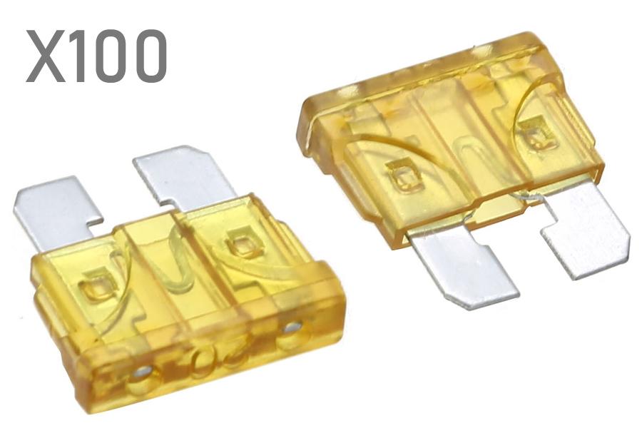 20 Amp standard ATO blade fuses (100pcs pack)