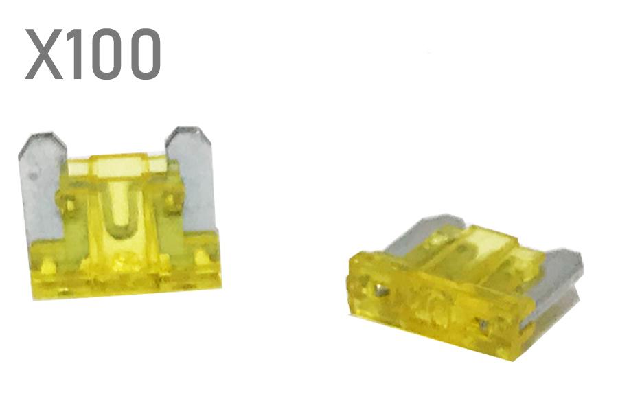 20 Amp Yellow ACN mini blade fuses (100pcs pack)