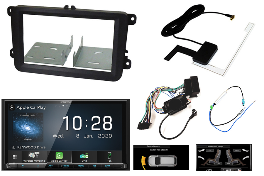 Volkswagen audio kit with Kenwood 8020DABS (Carplay/ Android) and park Pilot OPS display retention
