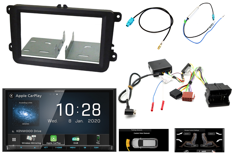 VW  T6 audio kit with Kenwood 8020DABS (Carplay/ Android) and park Pilot OPS display retention